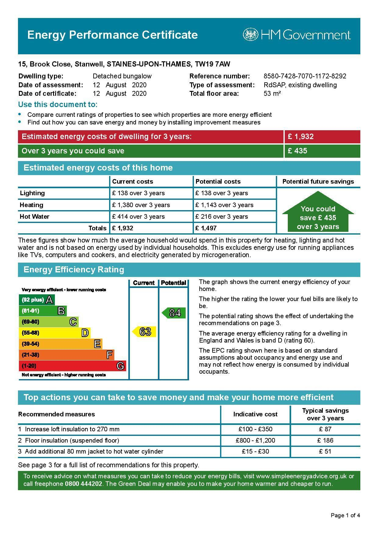 EPC Graph for 15 Brook Close, Stanwell, Middlesex TW19 7AW