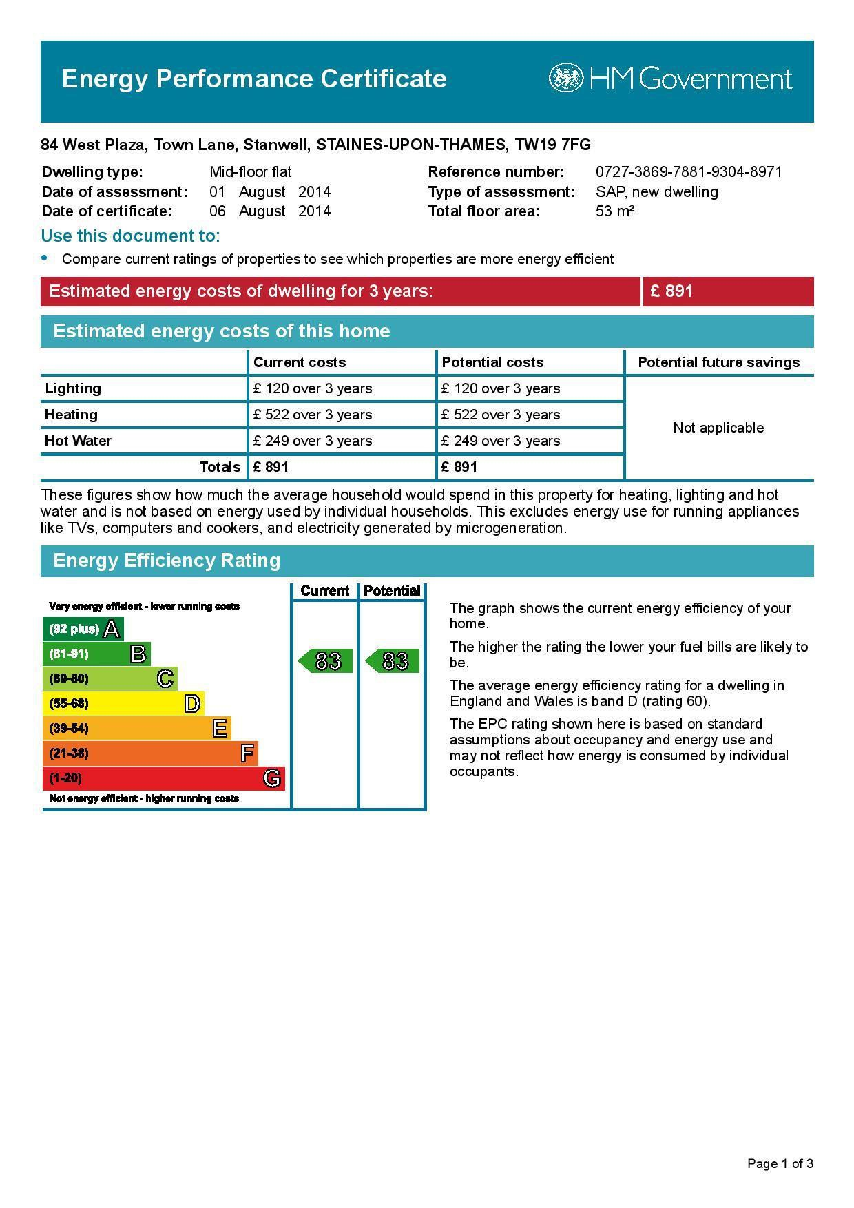 EPC Graph for 84 West Plaza, Town Lane, Stanwell, Middlesex TW19 7FG
