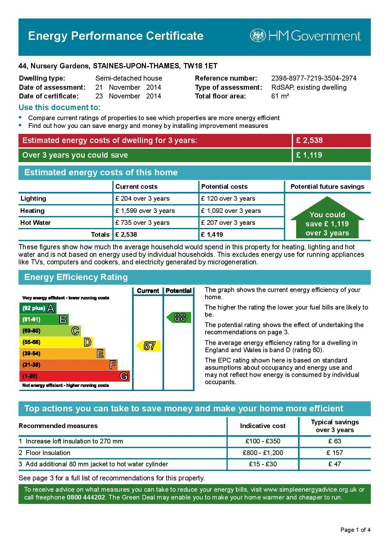 EPC Graph for 44 Nursery Gardens, Staines-Upon-Thames, Middlesex TW18 1ET