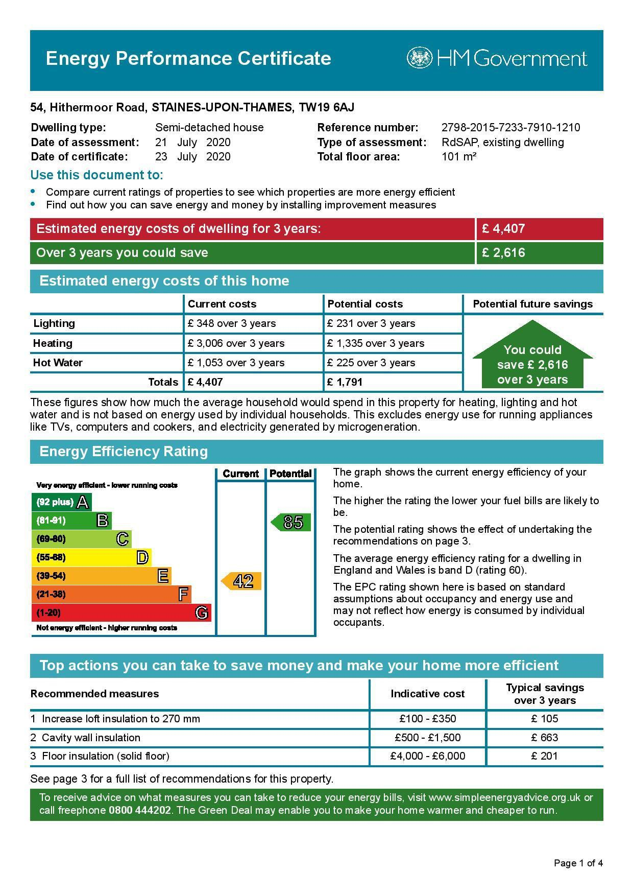 EPC Graph for 54 Hithermoor Road, Stanwell Moor, Middlesex, TW19 6AJ